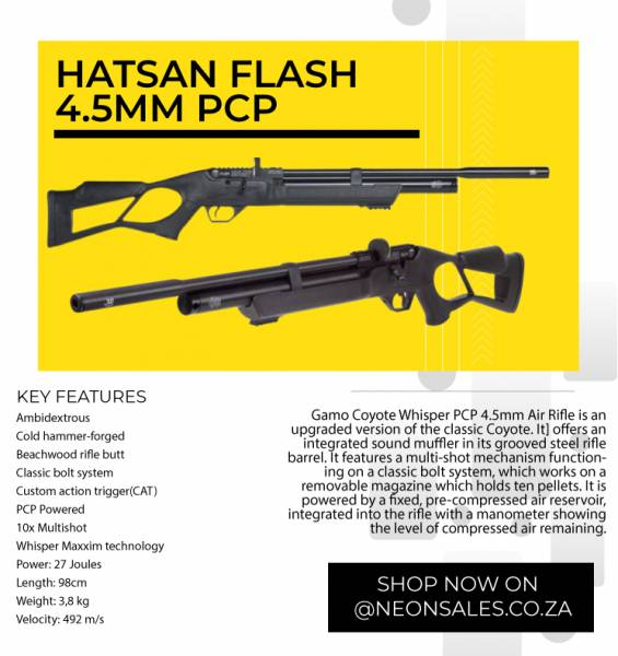 HATSAN FLASH-4 5MM PCP, Manual loading, side bolt action